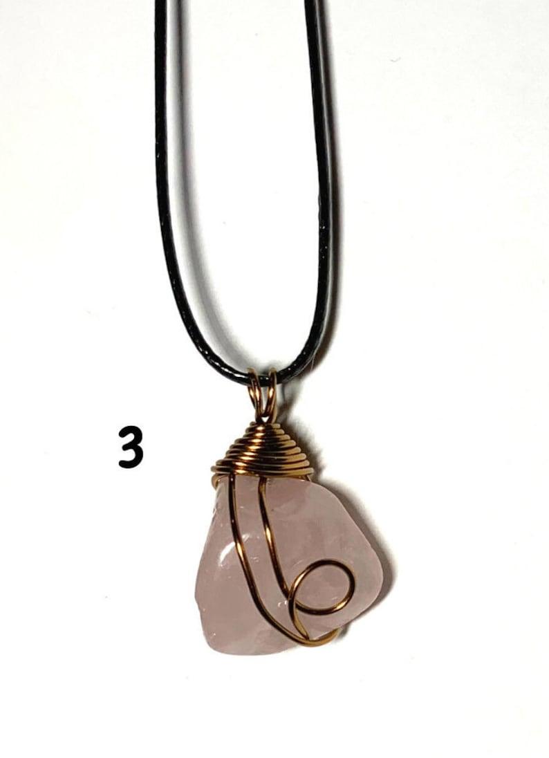 Rose Quartz Gemstone Wire Wrapped Pendants-Natural Stone Wire Wrapped Necklaces-Brass Wire Wrapped Stone Necklaces-Cotton cord-Pink Necklace
