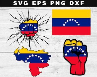 Venezuela Flag map SVG, Venezuela Svg, Venezuela Silhouette, Venezuela Bundle SVG, Venezuela Flag Clipart, Flag Ai, Eps