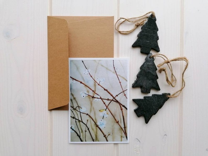 Watercolor Snowberry card Christmas postcard A6 single-sided image 0
