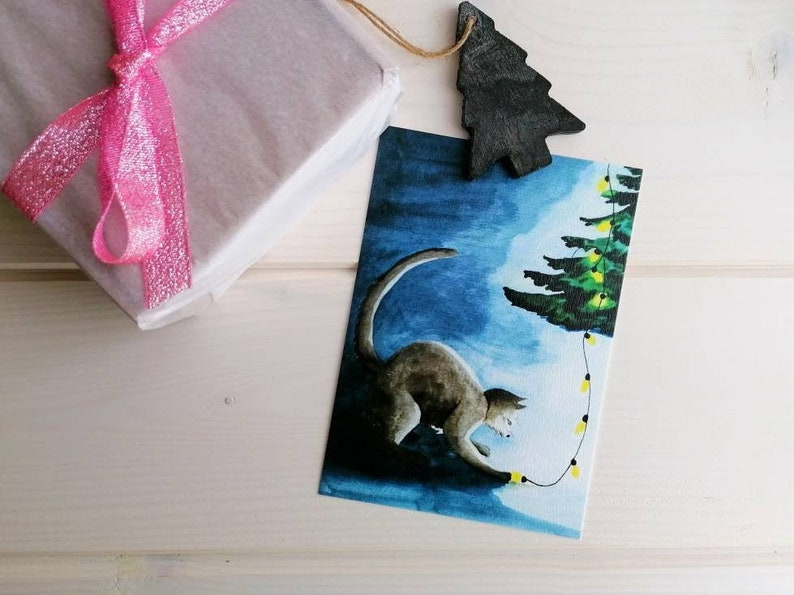 Playful Cat Christmas postcard cat holiday card watercolor without envelope