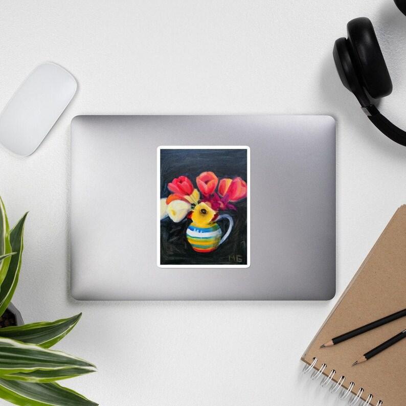 Spring flower sticker tulips in a vase journal sticker vinyl image 0