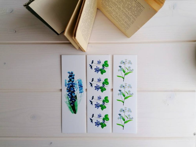 Set of 3 floral bookmarks: blue spring flowers watercolor image 0