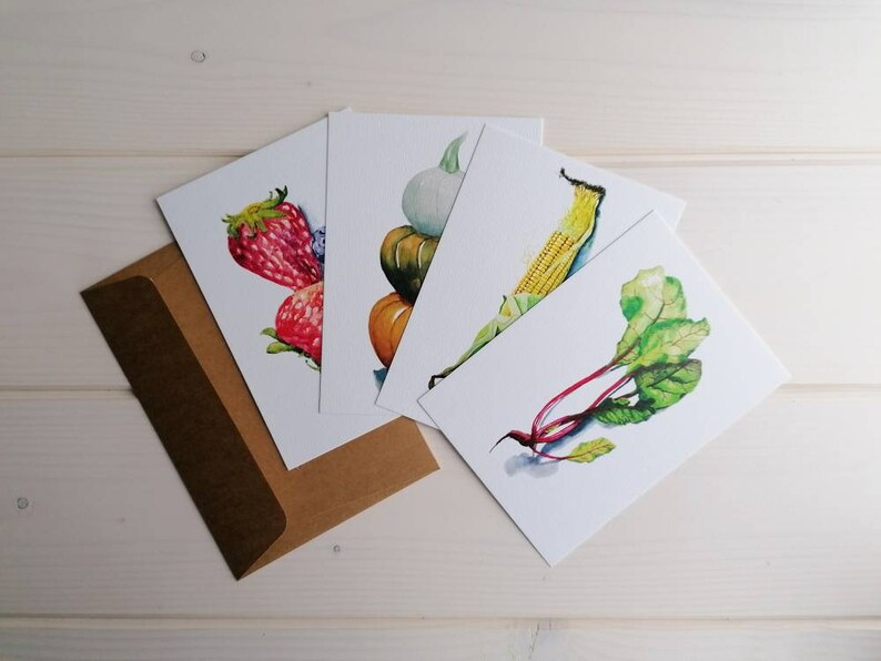 Pack of 4 postcards: vegetables and berries blank A6 autumn image 0