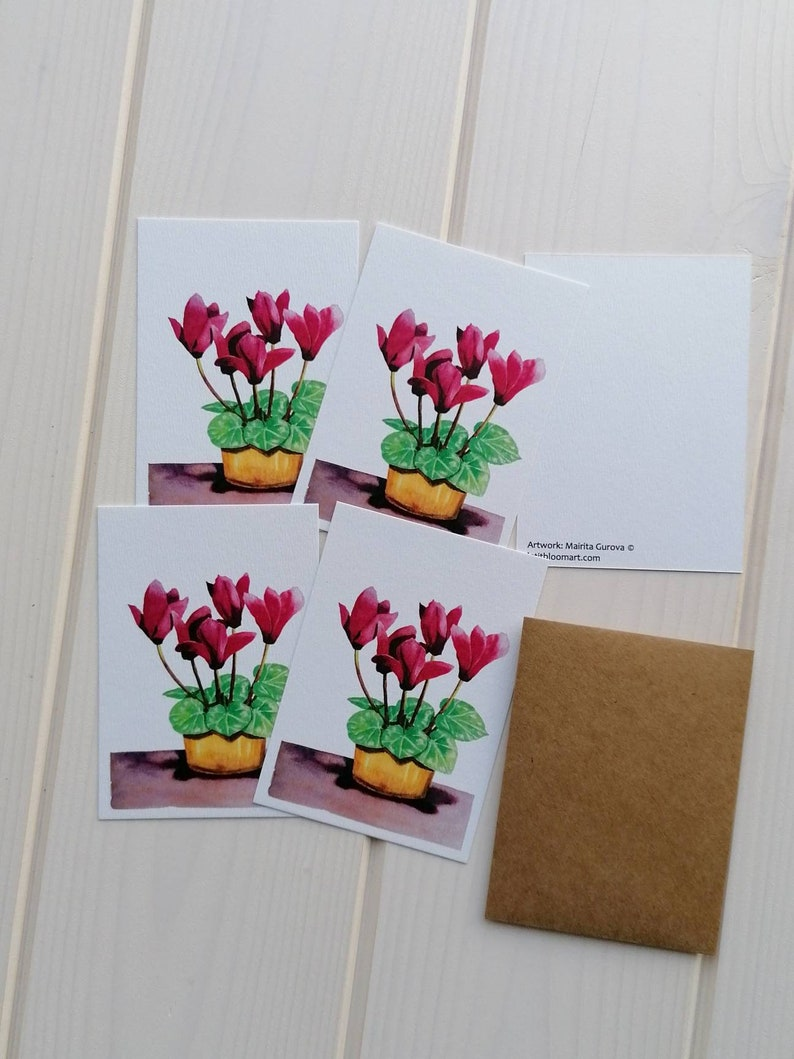Cyclamen note card set of 5 blank A7 mini greeting cards with without envelopes