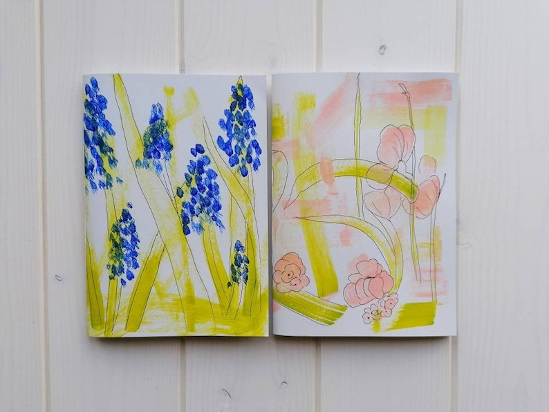 Spring notebook A5 blank sketchbook for drawing hand painted Both notebooks