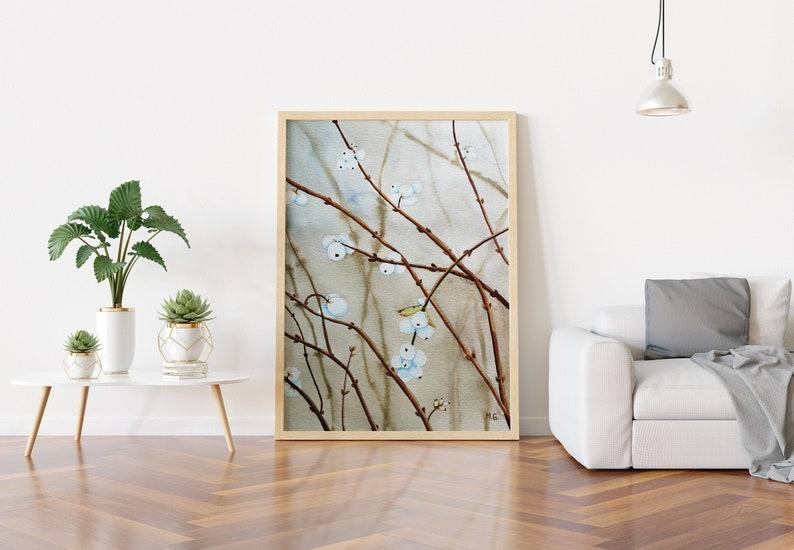 Snowberry art print unframed botanical print watercolor image 0