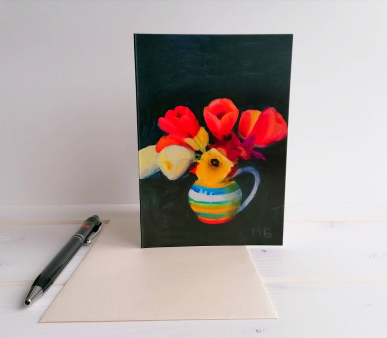 Tulips in vase greeting card spring flower card blank card image 0