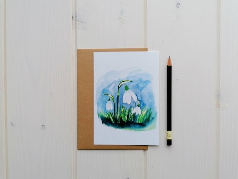 Snowdrop card spring flower postcard blank card with or image 0