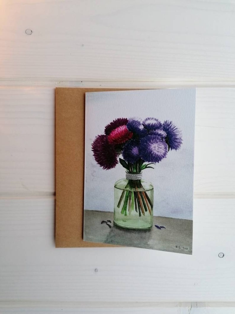 Purple flower greeting card blank card with or without image 0