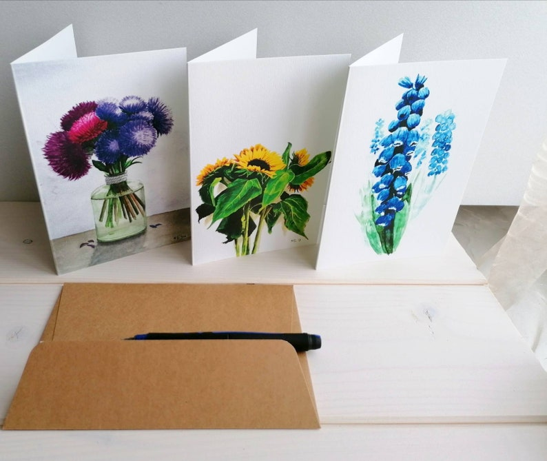 Flower greeting cards set of 3 flower prints A6 cards blank image 0