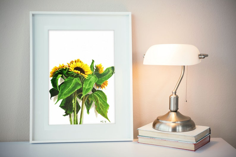 Sunflower print yellow flower print from gouache painting image 0