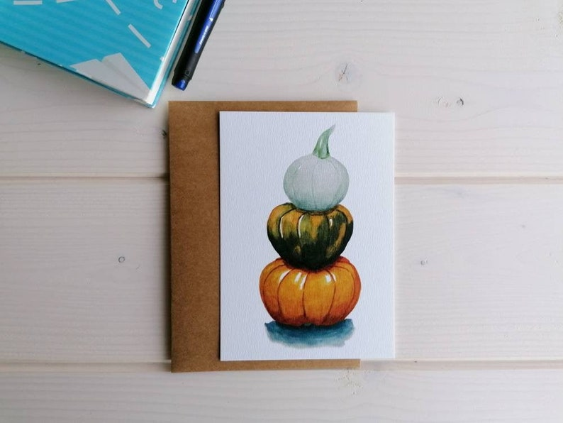 Autumn harvest pumpkin postcard botanical watercolor art image 0