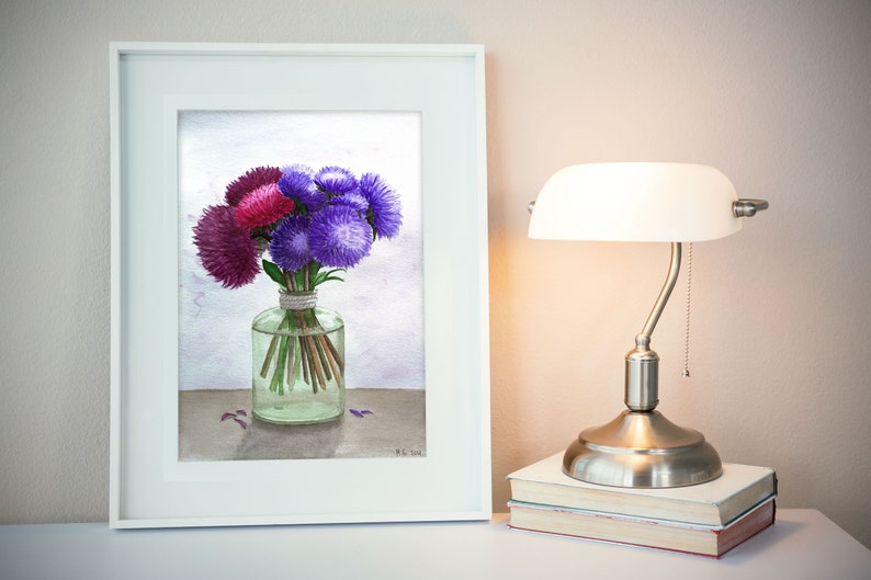 Aster flower watercolor print purple wall art flower image 0