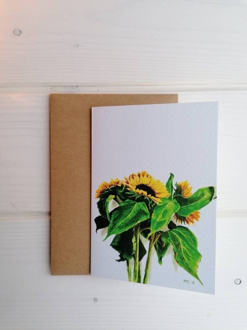 Yellow sunflower greeting card with or without envelope with kraft envelope