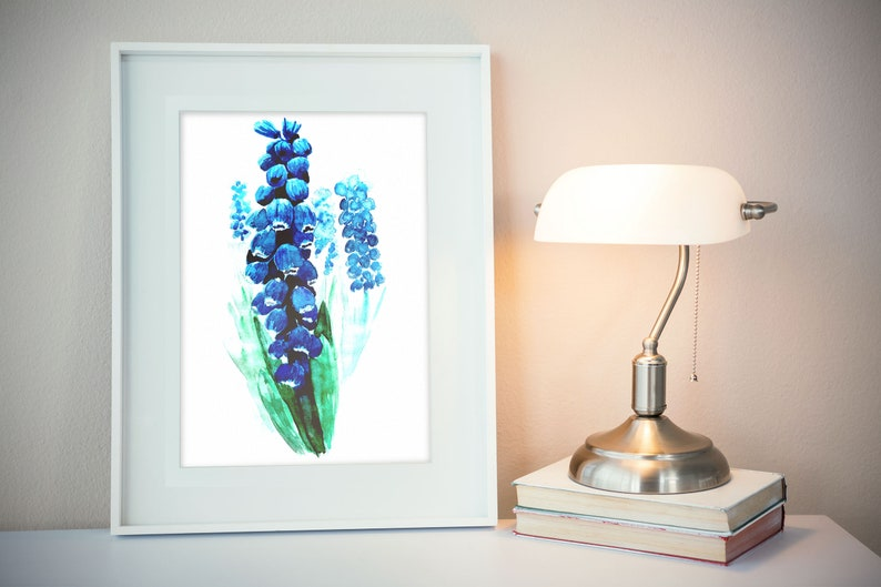 Blue spring flowers wall art print watercolor Muscari image 0