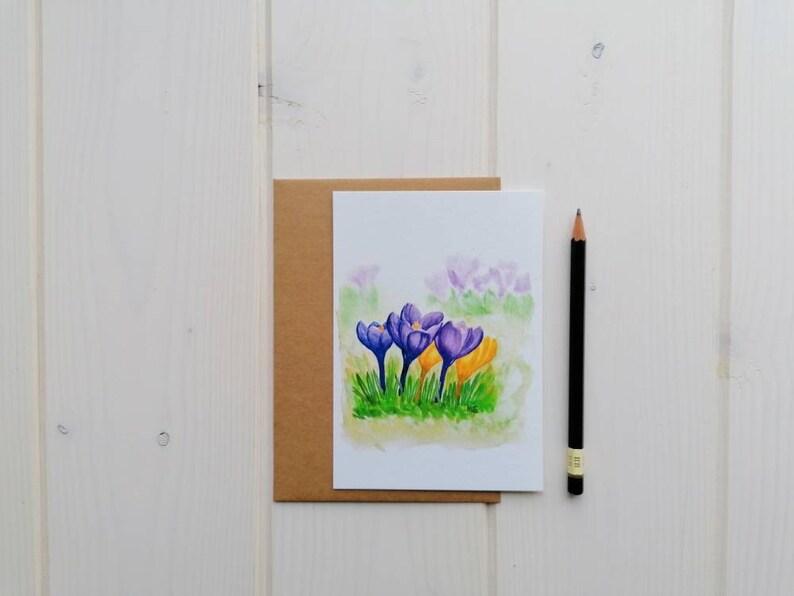 Crocus flower postcard spring flowers blank card with or image 0