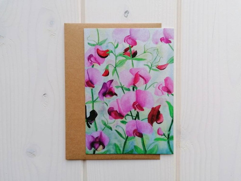 Sweet pea flower postcard blank card with or without image 0