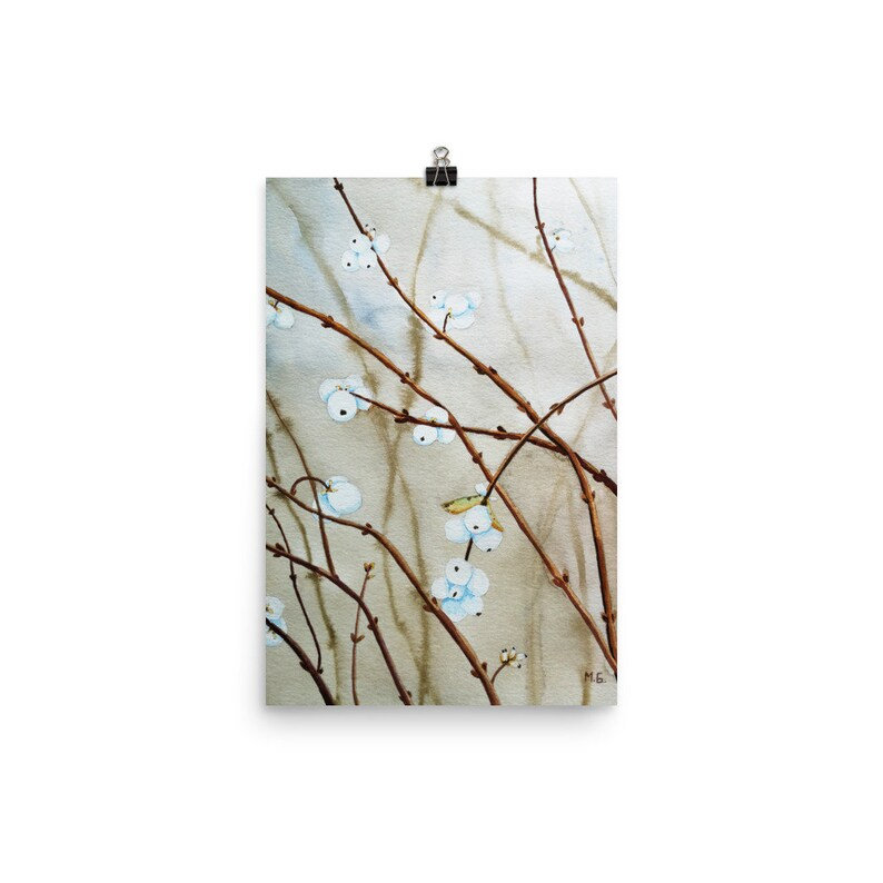 Winter plant print Snowberry print from watercolor painting 12×18 inches