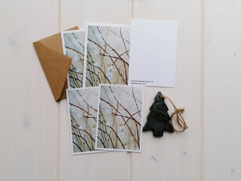 Snowberry note card set of 5 blank A7 holiday cards gift without envelopes