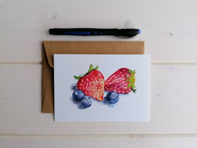Berries postcard strawberry and bilberry botanical watercolor image 0
