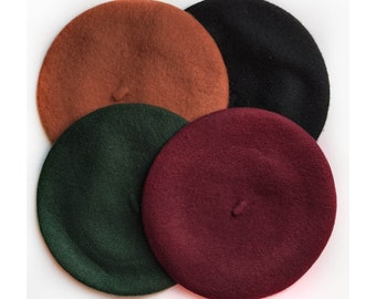 100% Wool Felt Berets, Ladies one size, choose from, Autumn Brown, Dark Green, Maroon and Black