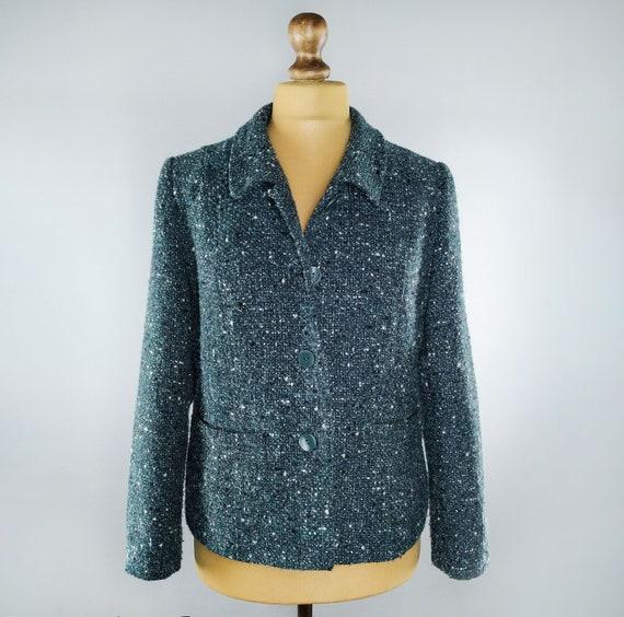 Vintage teal tweed blazer