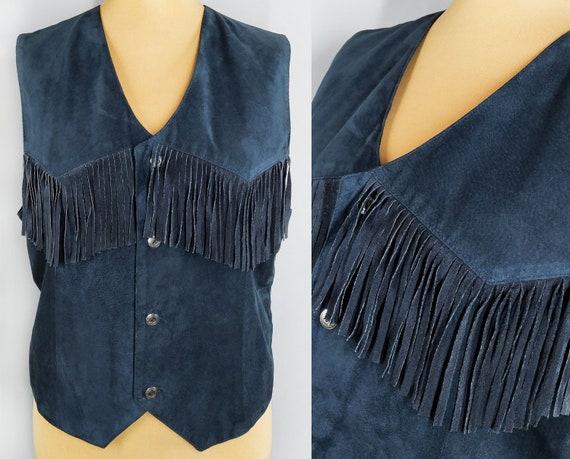 Vintage blue suede leather fringe vest