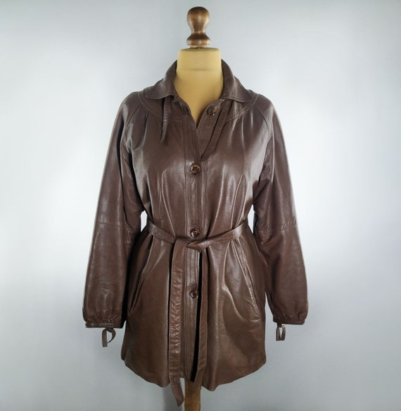 Vintage leather trench coat brown