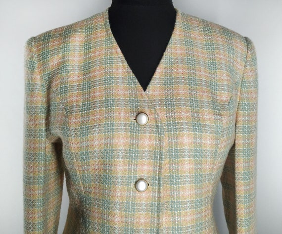 Vintage tweed blazer in pastel colors and plaid pa