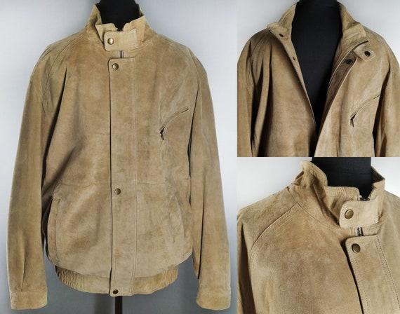 Vintage suede leather bomber jacket