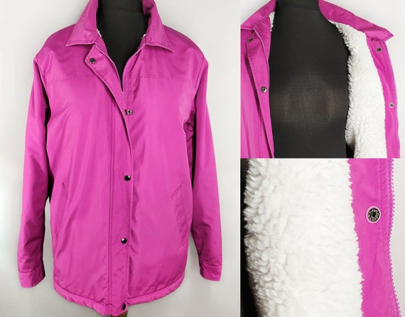 Bright vintage jacket in fuchsia with faux shearli