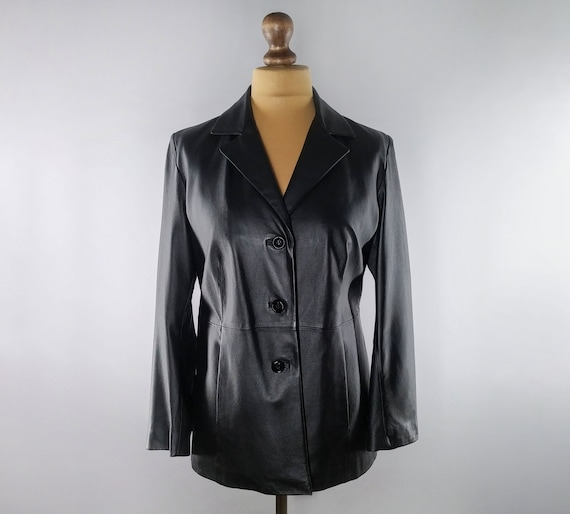 Vintage black leather blazer