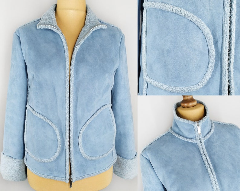 Vintage faux shearling jacket in light blue