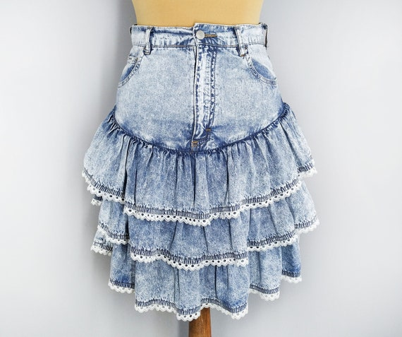 Vintage blue denim ruffle skirt