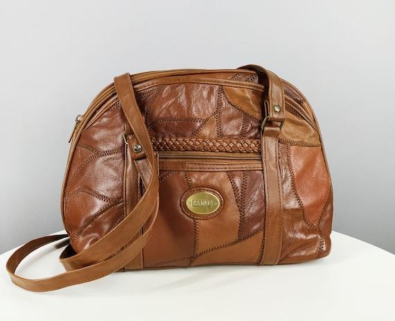 Vintage brown leather patchwork bag