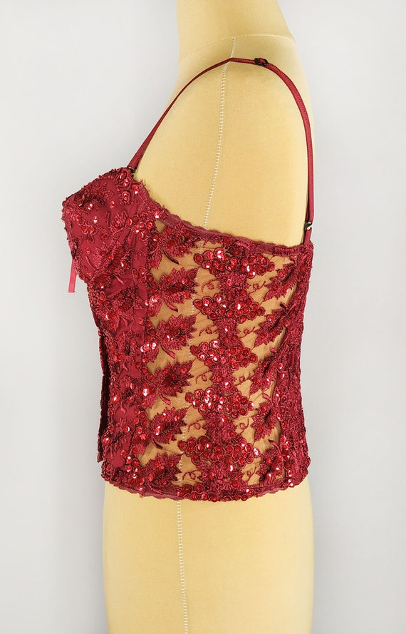 Red lace vintage corset with embellishments, bead… - image 5