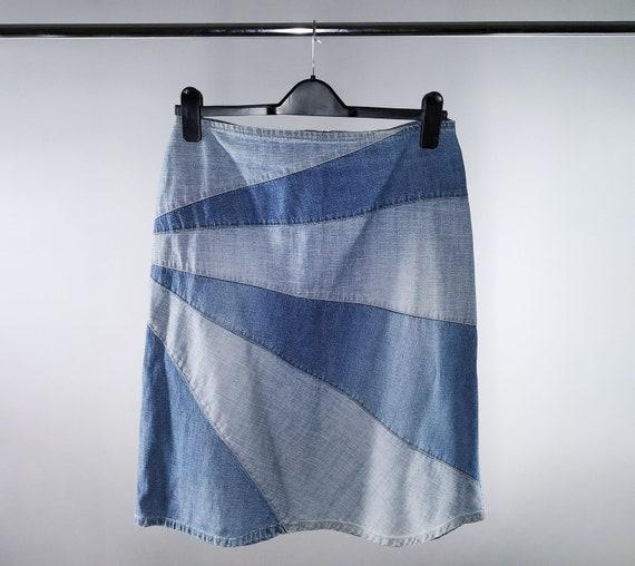 Vintage blue denim patchwork skirt