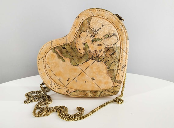 Small vintage heart shaped bag in map print