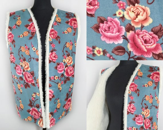 Vintage faux shearling floral vest