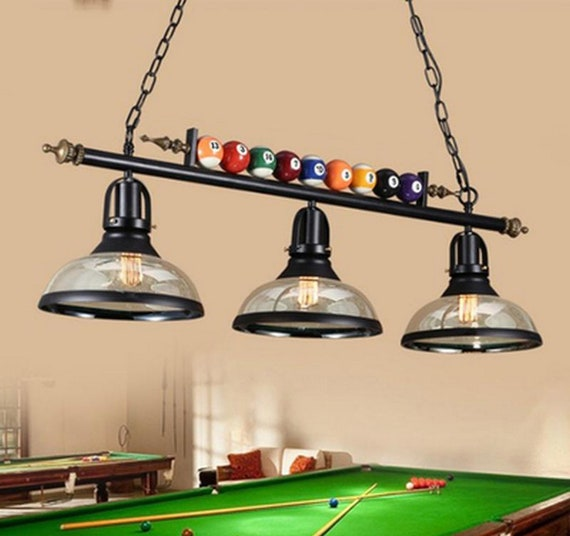 Retro Pool Billiard Snooker Table Hanging Light Fixtures  Unique Pendant Lamp Bar Father's Day Gift Mid Century Large