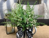 Farmhouse Arrangement in White Painted Metal Pitcher