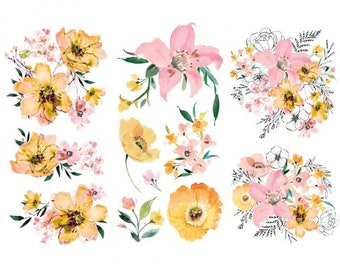 Decor Transfers Watercolor Lush, ReDesign with Prima, Rub On Furniture Transfer, Embellishments, DIY, Yellow, Free Shipping, Pink, Florals
