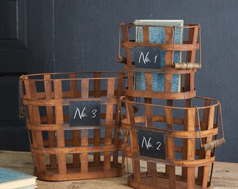 Set of Three Rustic Numbered Baskets, Storage, Rustic, Metal, Farmhouse, Industrial, Free Shipping, Container, Office, Table, Floor, Blanket