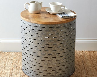 Olive Bucket Side Table, Industrial, Home Furnishing, Home Decor, Home Interiors, Wood, Metal, Side Table, End Table, Accent Table