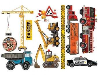 Decor Transfers Under Construction, ReDesign with Prima, Rub On Furniture Transfer, Embellishments, DIY, Cars, Free Shipping, Trucks, Boy