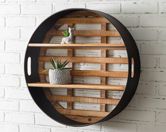 Round Wood and Metal Wall Display, Wall Decor, Industrial, Gallery Wall, Contemporary, Modern, Free Shipping, Living Room, Shelf, Black