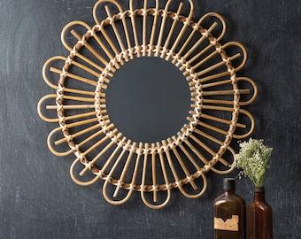 Rattan Wall Mirror, Wood, Boho, Wall Hanging, Wall Decor, Minimalist, Home Furnishings, Home Decor, Home Interiors, Modern, Contemporary