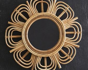 Juniper Rattan Mirror, Wall Decor, Boho, Wood, Wall Gallery, Wall Hanging, Living Room, Bohemian, Free Shipping, Home Accents, Furnishings