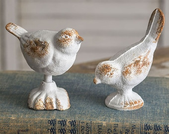Set of Two Cast Iron Birds, Table Decor, Home Furnishing, Accents, Figurine, Metal, Bookshelf, Decorative, Farmhouse, Country, Free Shipping