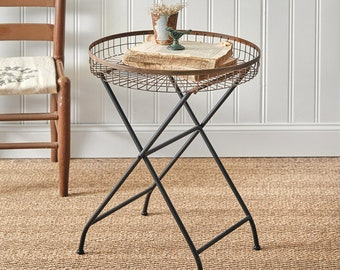 Copper Finish Open Basket Table, Industrial, Home Furnishings, Home Decor, Home Interiors, Farmhouse, Metal, Plant Stand, Side Table